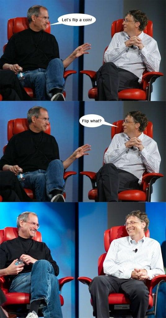 Steve Jobs and Bill Gates Chatting