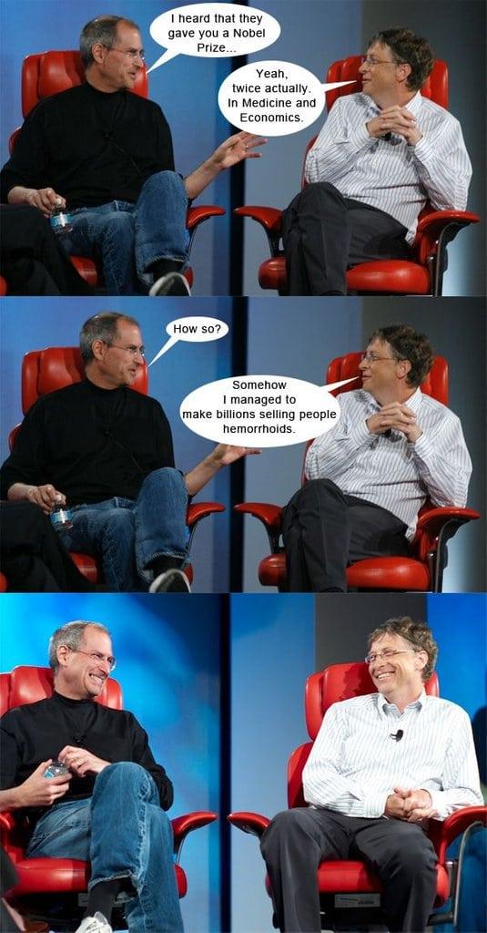 Bill Gates and Steve Jobs chatting