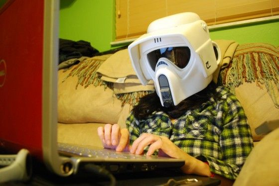 Girl Playing Chatroulette With Stormtrooper Helmet On