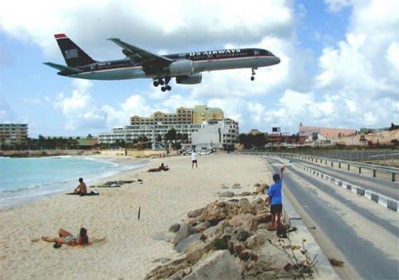 Noisy airport in Caribbean