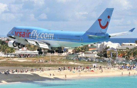 Airport right on the beach