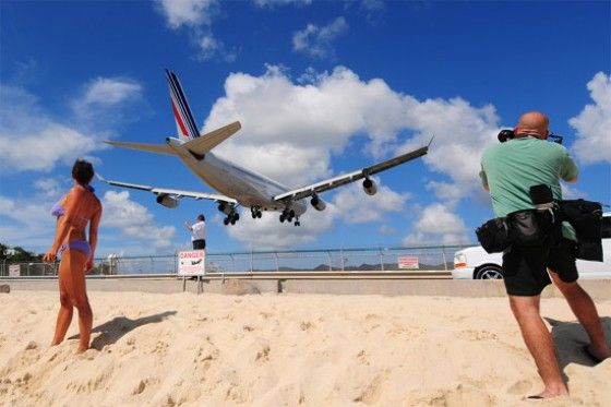 airport close to beach in the Caribbean