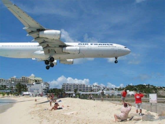 Air France plane landing at Juliana International Airport