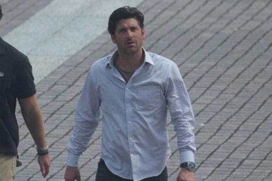 Patrick Dempsey on the set of Transformers 3