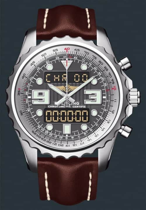 Breitling Chronospace Gray Dial Leather Strap