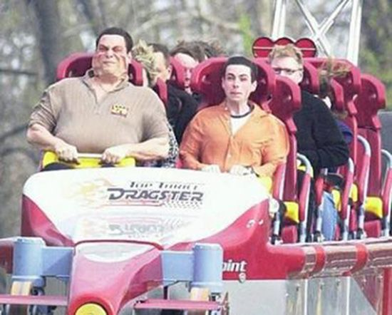 Funny Fat Guy On Roller Coaster