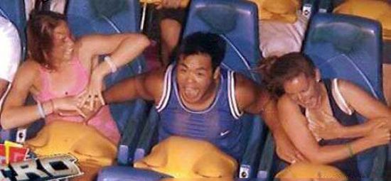Guy Grabbing Boobs on roller coaster