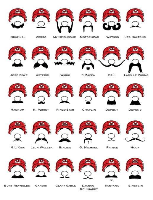 Funny moustache mustache styles for Mario