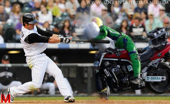 Batter hits motorcycle with major league swing