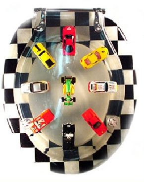 Toy Cars and Racing Flag Toilet Seat