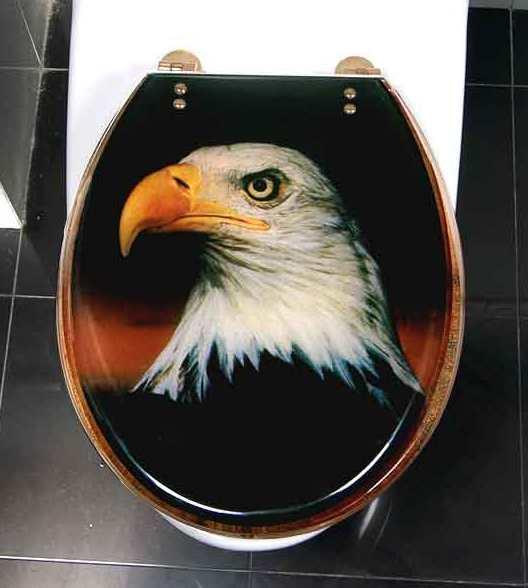Eagle head on toilet seat