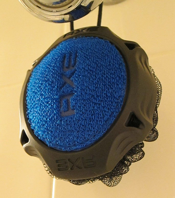 The Axe Detailer Shower Tool, Scrubber Close Shot Blue