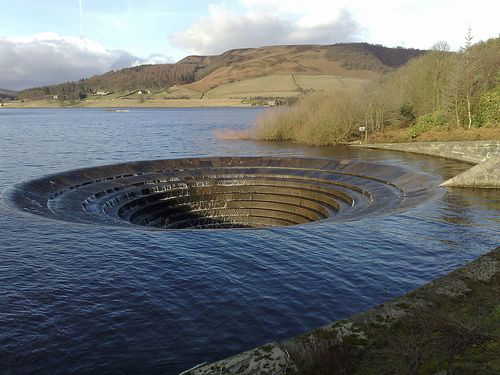 The Ladybower Bellmouth Spillway In Derbyshire England, Far View