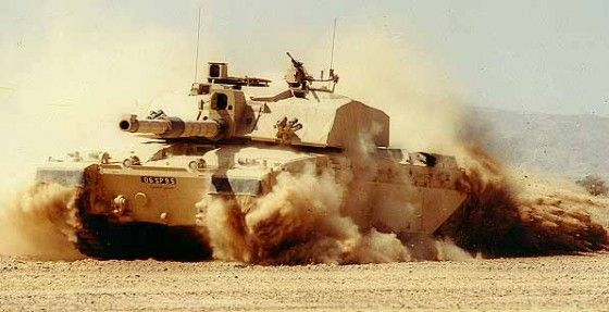 Challenger 2 Tank in the Desert shooting rounds