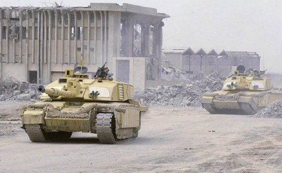 Challenger 2 Tank in Iraq in the rubble