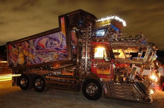 Decorated Japanese Trucks with chrome and led lights