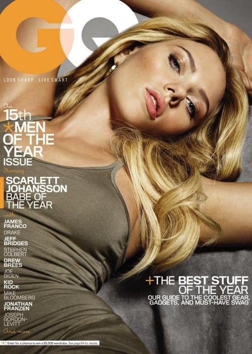 The cover of GQ magazine featuring Scarlett Johansson