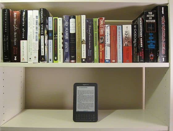 The Amazon Kindle, 3rd Generation - On A Bookshelf