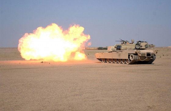 M1A1 tank unleashing its arsenal