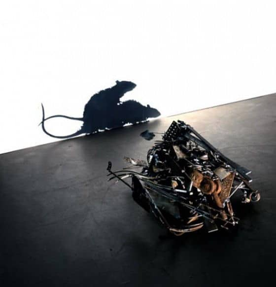 Artistic metal rats making love