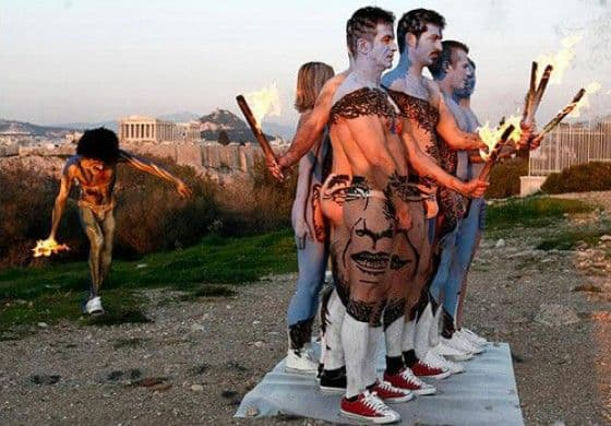 Body painted with President Obama's face