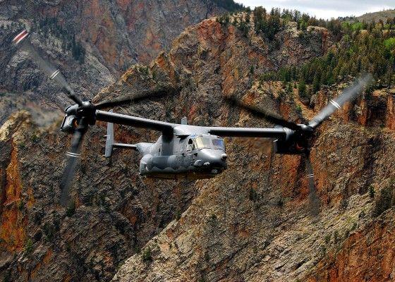 V-22 Osprey flying over Afghanistan mountains