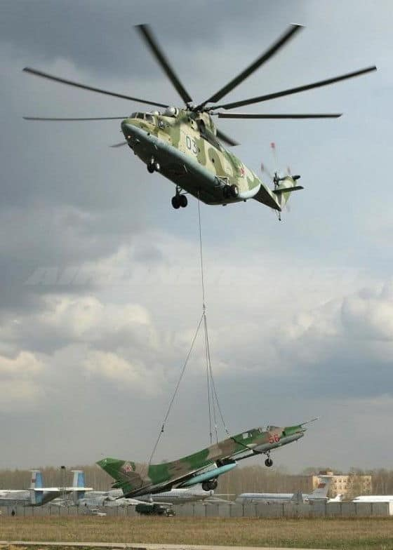 MI-26 Helicopter lifts Mig 21 Jet