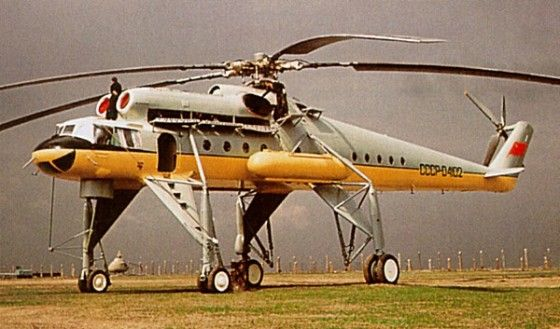 Big Mi-10 helicopter with strange landing gear