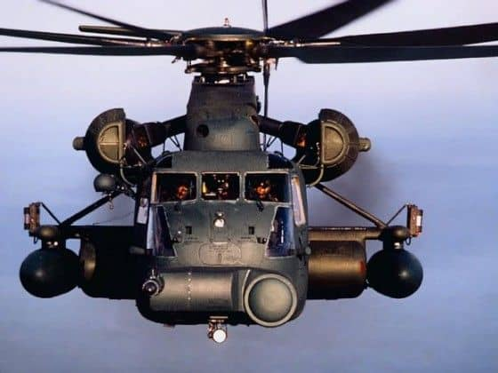 Up close picture of flying CH-53E Super Stallion Helicopter