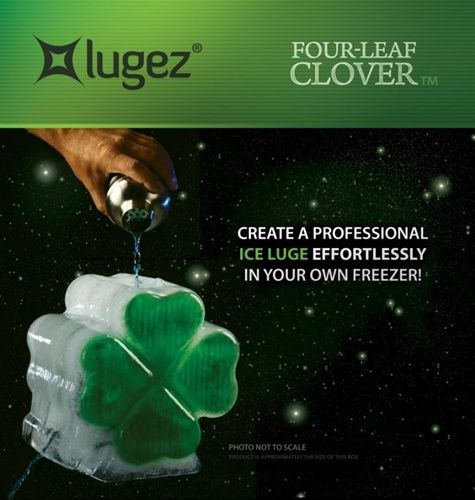 Ice Luge for alcohol shaped like a four leaf clover