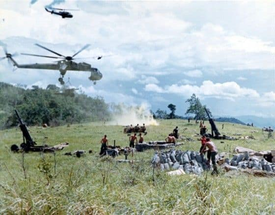 CH54 in Vietnam dropping off artillery canon