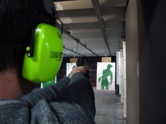 Close Up Of Chad Firing A Walther P99