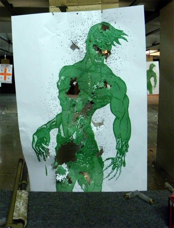 A Shot Up Zombie Target