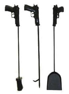 full view of heat fireplace tools with gun handles