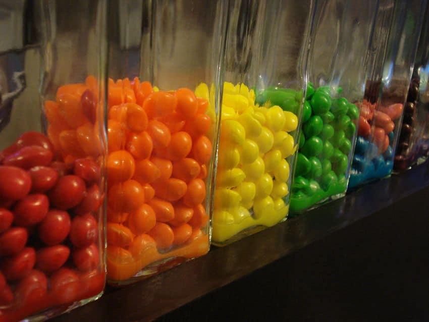 Skittles in clear glass bottles for skittle vodka