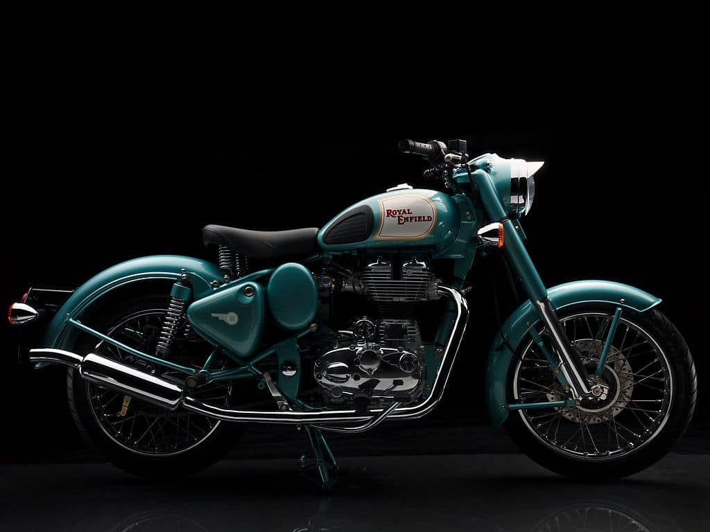 Royal-Enfield-Classic-500-Motorcycle-Side-Blue