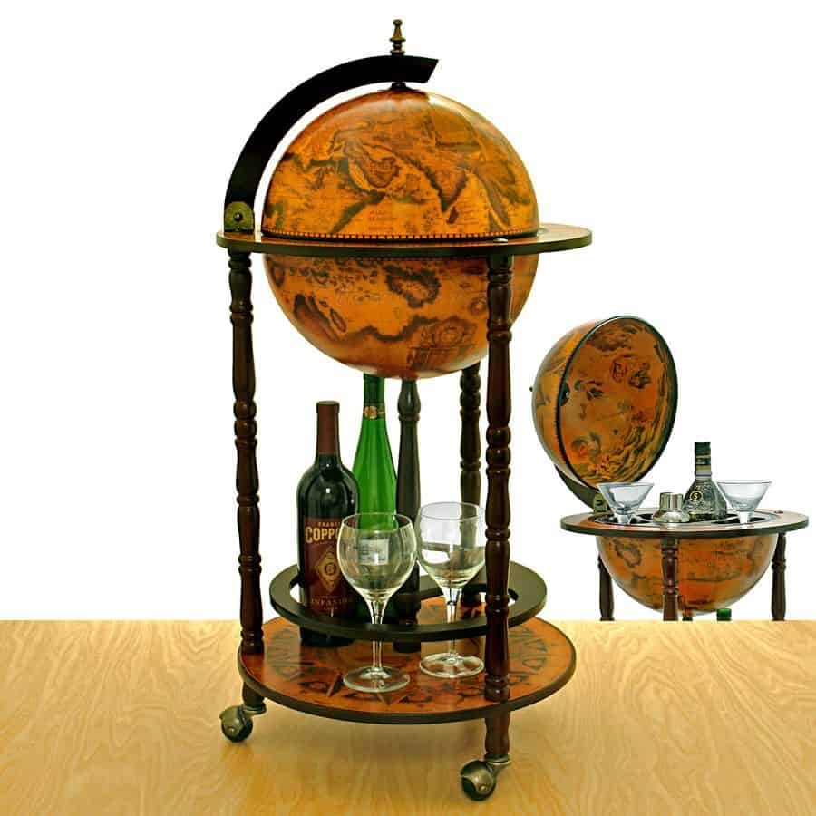 mini-bar shaped like an antique globe