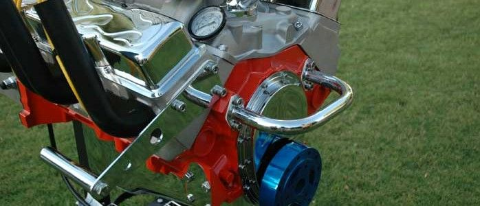 Hot Rod Engine Grill In Red Metal