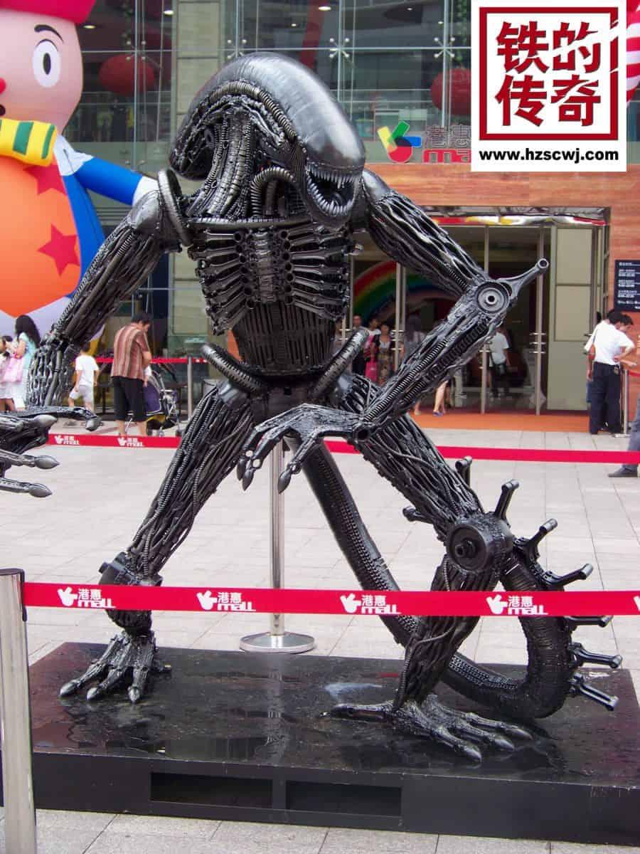 giger alien sculpture made from scrap iron