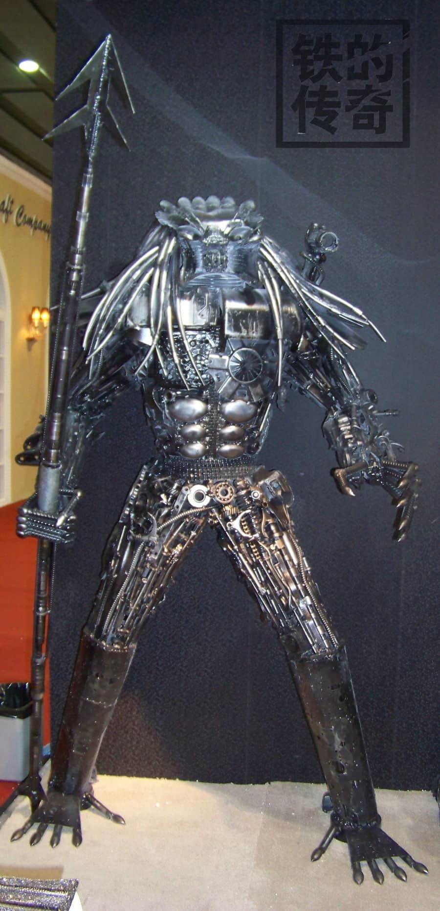 predator sculpture made out of iron scraps