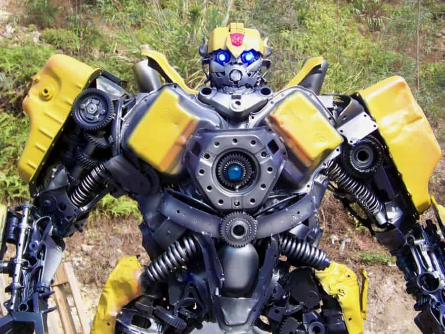 bumblebee transformer robot built out of iron scraps