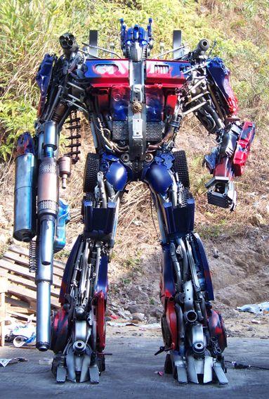 Optimus Prime Robot transformers robot built out of iron scraps