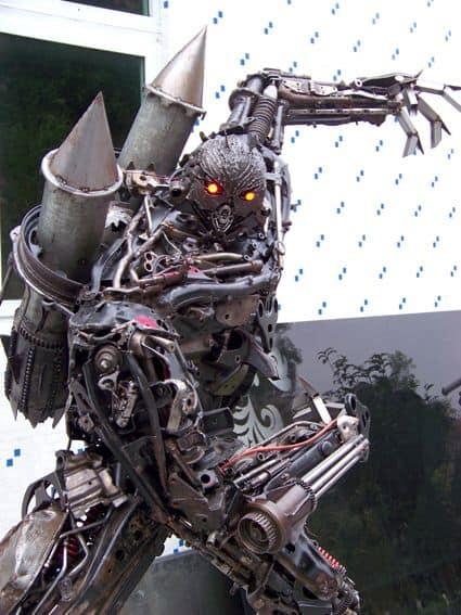 giant robot built out of iron scraps