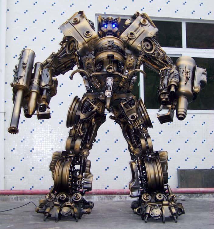 giant robot built out of scrap iron