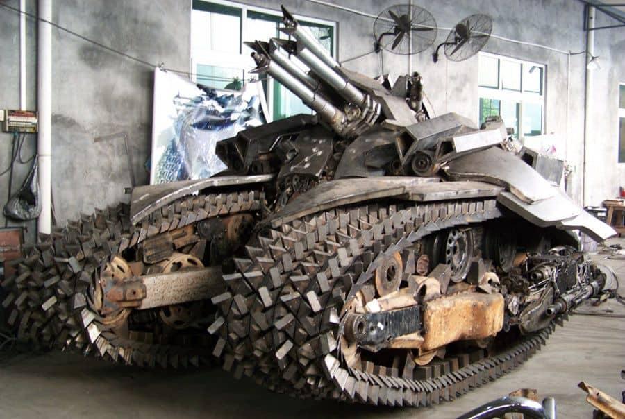 giant megatron tank made of scrap iron parts