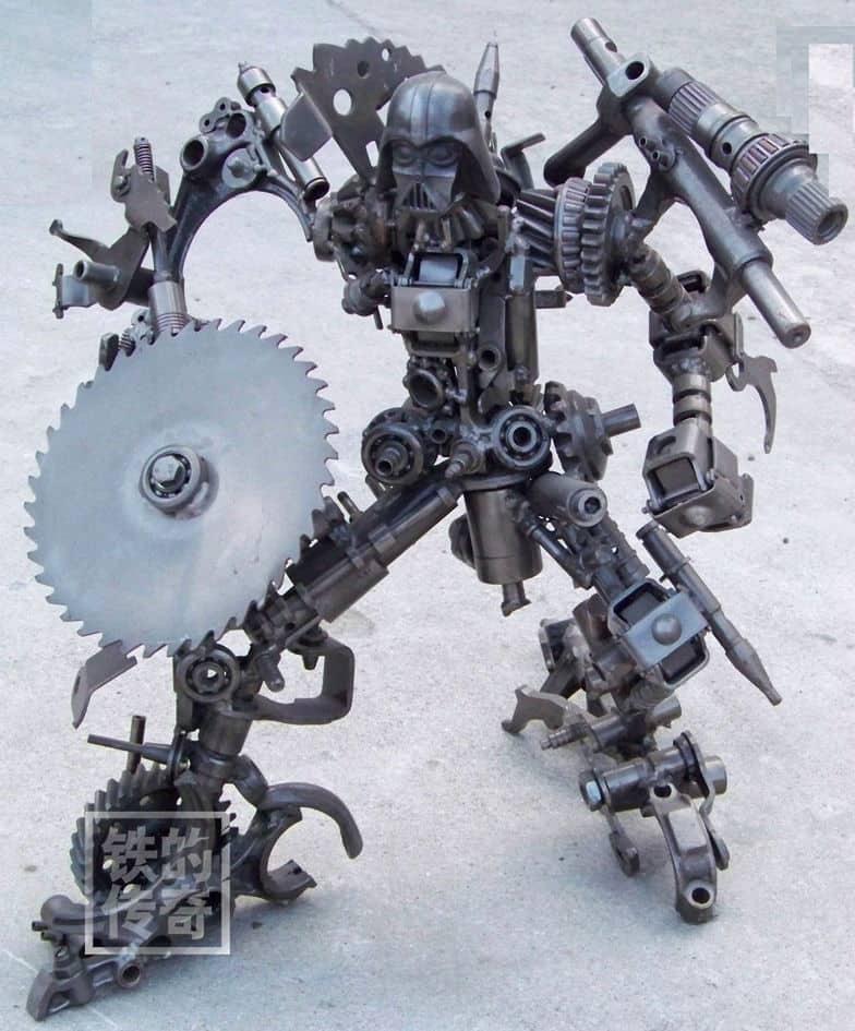 darth vader terminator robot built from iron scraps