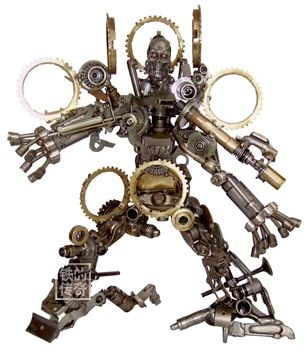 home made terminator made out of car parts and iron scraps