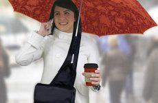 No hands umbrella in a messenger bag