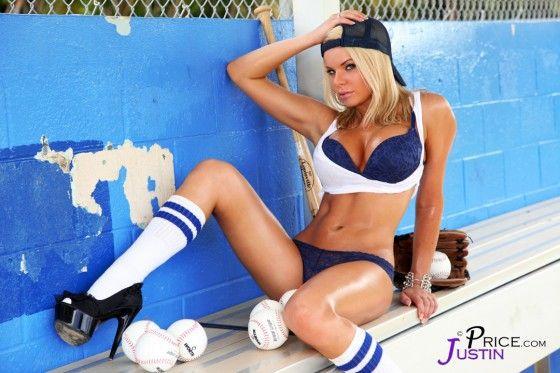 Model Heather Shanholtz in lingerie and baseball cap