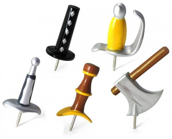 Cool Medieval Weapons Push Pins for notes